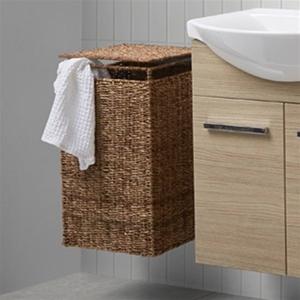 Lækker Scanbad Delta vasketøjskurv 40 cm i flet med låg. Lav pris! EG-53