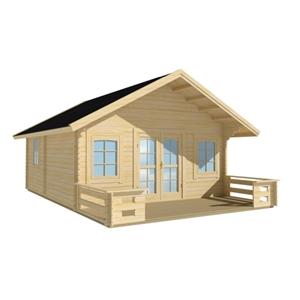 ae9ece506bc Luoman Lillevilla 220-0 hytte med hems og terrasse inkl. tagshingels 28,5