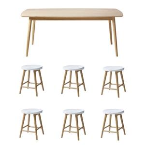 Billig pris på Cinas Noble spisebordssæt - hvid og bambus